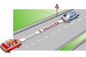 The correct safety distance between two vehicles