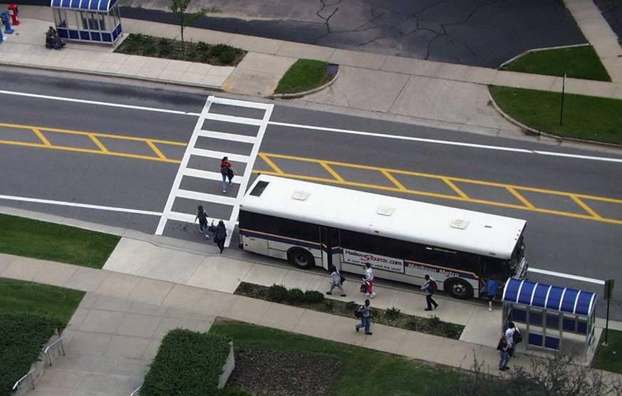 pedestrian and bus