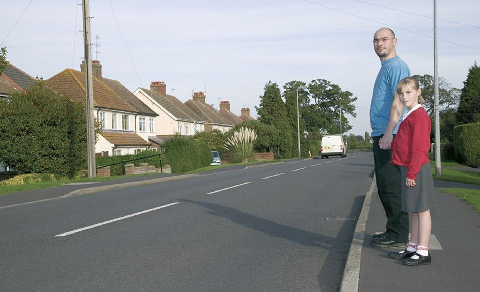 pedestrian controls the road