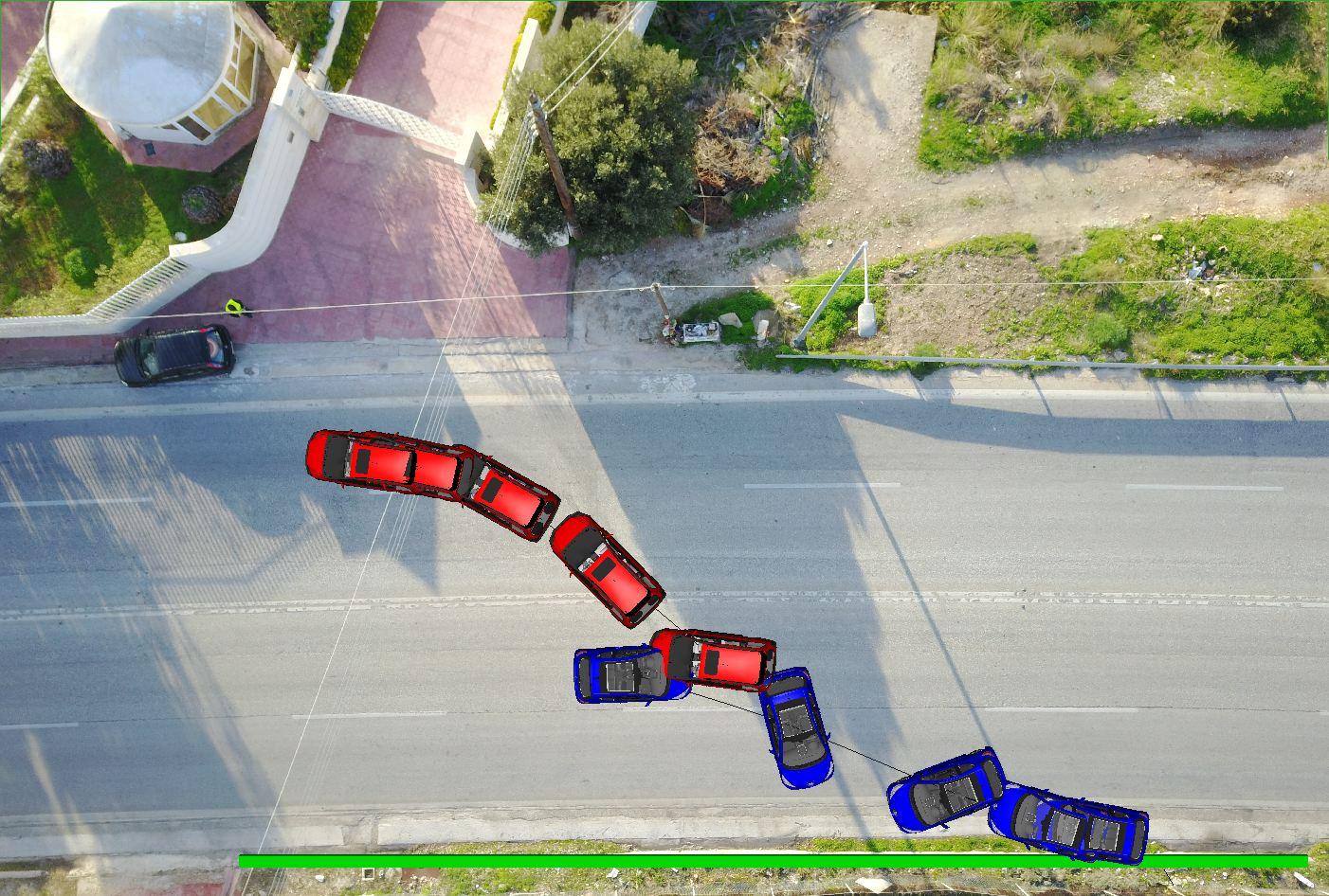 Accident simulation using the special software program Pc - Crash in aerial photography
